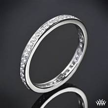 "14k White Gold ""Channel Bead-Set"" Diamond Wedding Ring 