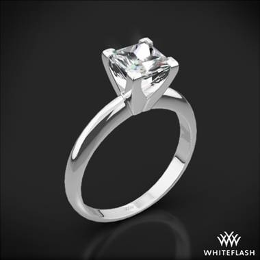 14k White Gold Classic 4 Prong Solitaire Engagement Ring for Princess