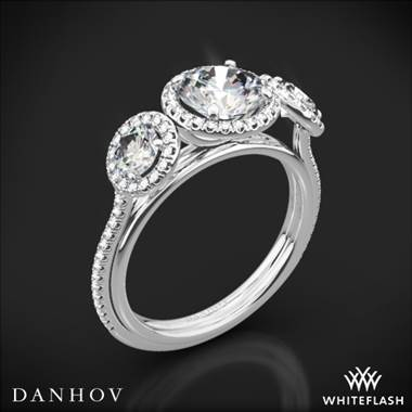 14k White Gold Danhov LE101 Per Lei Halo Three Stone Engagement Ring