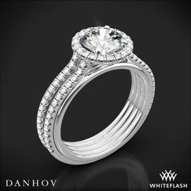 14k White Gold Danhov UE103 Unito Diamond Two-Tone Engagement Ring