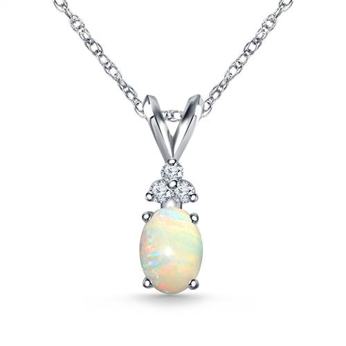 14K White Gold Diamond and Genuine Opal Trio Accent Pendant (7x5mm)