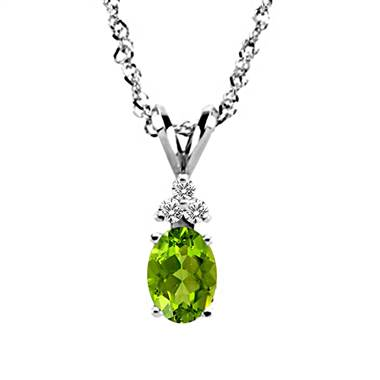 14K White Gold Diamond and Genuine Peridot Trio Accent Pendant (7x5mm)