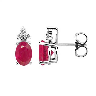14K White Gold Diamond and Genuine Ruby Trio Accent Earrings (6x4mm)