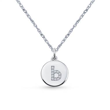 14K White Gold Diamond Initial 'B' Disc Pendant Necklace