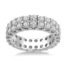 14K White Gold Dual Row Diamond Eternity Ring (2.94 - 3.50 cttw.) | B2C Jewels