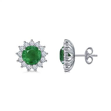 14K White Gold Emerald and Diamond Stud Earrings with Starburst Halo (6mm)