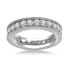 14K White Gold Milgrain Edged Diamond Eternity Ring (0.78 - 0.90 cttw.) | B2C Jewels