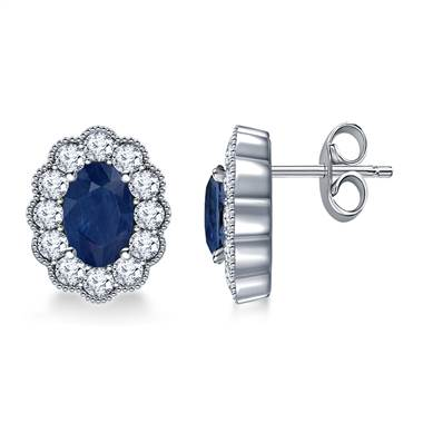 14K White Gold Oval Sapphire and Diamond Stud Earrings with Scalloped Halo (6x4mm)