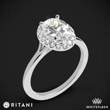 14k White Gold Ritani 1OZ1332 Halo Solitaire Engagement Ring | Whiteflash