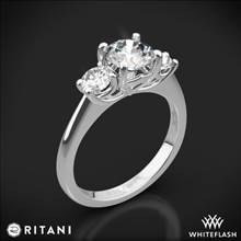 14k White Gold Ritani 1RZ1015P Three Stone Engagement Ring | Whiteflash