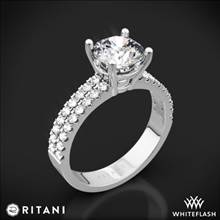 14k White Gold Ritani 1RZ1324 Double French-Set Diamond Engagement Ring | Whiteflash