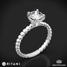 14k White Gold Ritani 1RZ1325 Surprise Diamond Beaded Solitaire Engagement Ring | Whiteflash