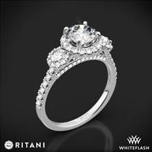 14k White Gold Ritani 1RZ1326 Halo Three Stone Engagement Ring | Whiteflash