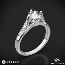14k White Gold Ritani 1RZ1379 Vintage Tulip Diamond Engagement Ring | Whiteflash