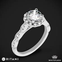 14k White Gold Ritani 1RZ1504 Diamond Halo Engagement Ring | Whiteflash