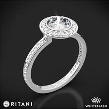 14k White Gold Ritani 1RZ1694 Vintage Halo Micropave Halo Diamond Engagement Ring | Whiteflash