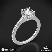 14k White Gold Ritani 1RZ1966 Micropave Diamond Engagement Ring | Whiteflash