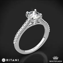 14k White Gold Ritani 1RZ2498 French-Set Diamond Engagement Ring | Whiteflash