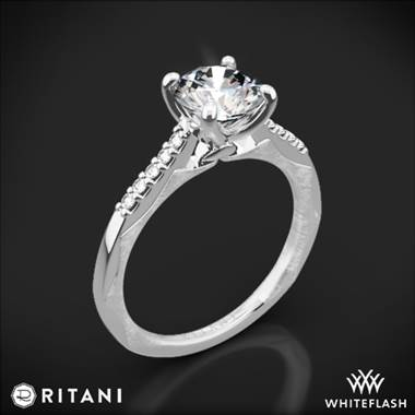 14k White Gold Ritani 1RZ2841 Modern French-Set Diamond Engagement Ring