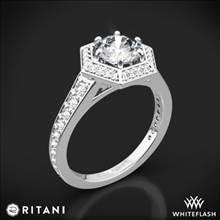 14k White Gold Ritani 1RZ3105 Vintage Hexagonal Halo Vaulted Diamond Engagement Ring   Whiteflash