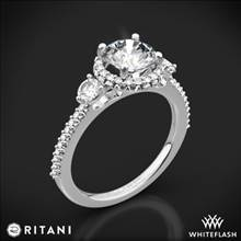 14k White Gold Ritani 1RZ3701 Halo Three Stone Engagement Ring | Whiteflash