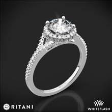 14k White Gold Ritani 1RZ3766 French-Set Halo Diamond V Diamond Engagement Ring | Whiteflash