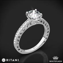 14k White Gold Ritani 1RZ4170 Lattice Micropave Diamond Engagement Ring | Whiteflash