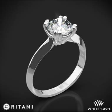 14k White Gold Ritani 1RZ7262 Knife-Edge Tulip Solitaire Engagement Ring