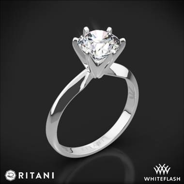 14k White Gold Ritani 1RZ7265 Six-Prong Knife-Edge Solitaire Engagement Ring
