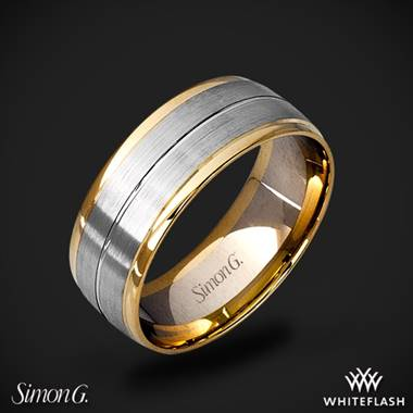 14k White Gold Simon G. LG103 Men's Wedding Ring with Yellow Gold Accents