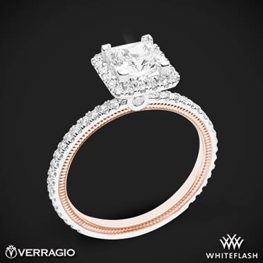 14k White Gold Two Tone Verragio Tradition TR120HP-2T Diamond Princess Halo Engagement Ring