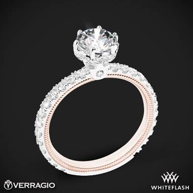 14k White Gold Two Tone Verragio Tradition TR180TR-2T Diamond 6 Prong Tiara Engagement Ring