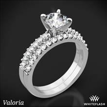 14k White Gold Valoria Petite Shared Prong Diamond Wedding Set | Whiteflash