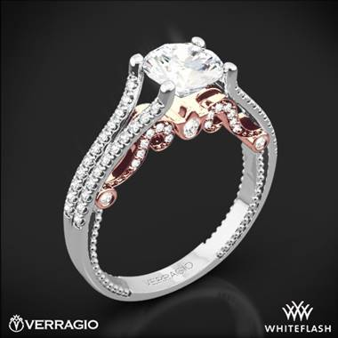 14K White Gold Verragio INS-7063R Insignia Two-Tone Diamond Engagement Ring