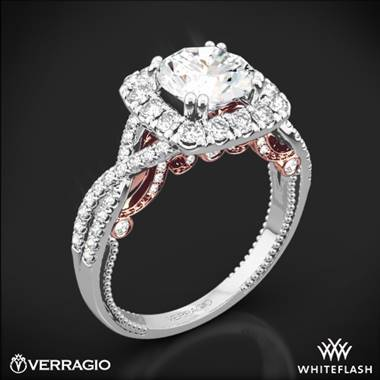14k White Gold Verragio Insignia INS-7086CU Two-Tone Halo Diamond Engagement Ring