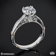 14k White Gold Verragio Parisian D-101S Shared-Prong Split Claw Diamond Engagement Ring with Rose Gold Wraps | Whiteflash