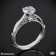 14k White Gold Verragio Parisian D-120 Split Claw 4 Prong with Rose Gold Shoulders Solitaire Engagement Ring | Whiteflash
