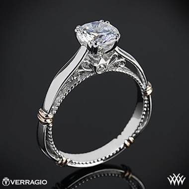 14k White Gold Verragio Parisian D-120 Split Claw 4 Prong with Rose Gold Shoulders Solitaire Engagement Ring