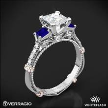 14k White Gold Verragio Parisian DL-124P Shared-Prong Princess and Sapphire 3 Stone Engagement Ring | Whiteflash