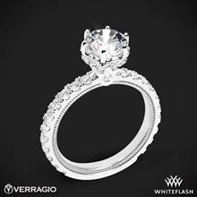14k White Gold Verragio Tradition TR210TR Diamond 6 Prong Tiara Engagement Ring | Whiteflash