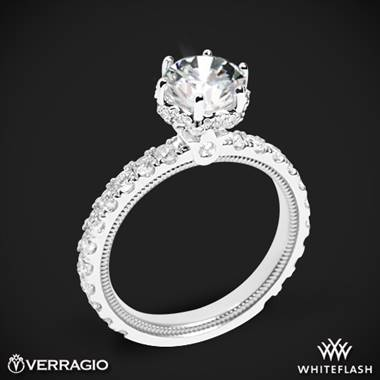 14k White Gold Verragio Tradition TR210TR Diamond 6 Prong Tiara Engagement Ring