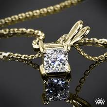 14k Yellow Gold 4 Prong Princess Pendant Setting | Whiteflash