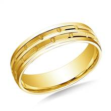 14K Yellow Gold 6mm Comfort-Fit Chain Link Design Carved Band | B2C Jewels