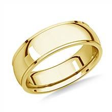 14K Yellow Gold 6mm Comfort-Fit High Polished Carved Design Band | B2C Jewels