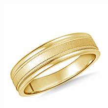 14K Yellow Gold 6mm Comfort-Fit Satin-Finished with Milgrain Round Edge Carved Design Band   B2C Jewels