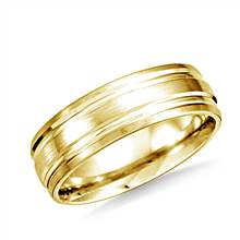 14K Yellow Gold 6mm Comfort-Fit Satin-Finished with Parallel Grooves Carved Design Band | B2C Jewels