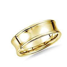 14K Yellow Gold 7.5mm Comfort-Fit Satin-Finished Concave Beveled Edge Design Band   B2C Jewels