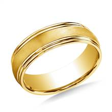 14K Yellow Gold 7.5mm Comfort-Fit Satin-Finished Double Round Edge Carved Design Band | B2C Jewels