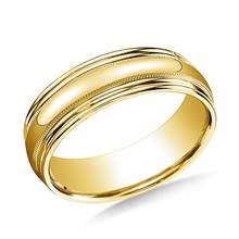 14K Yellow Gold 7.5mm Comfort-Fit with Milgrain Double Round Edge Carved Design Band | B2C Jewels