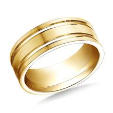 14K Yellow Gold 8mm Comfort-Fit Satin-Finished with Parallel Grooves Carved Design Band   B2C Jewels